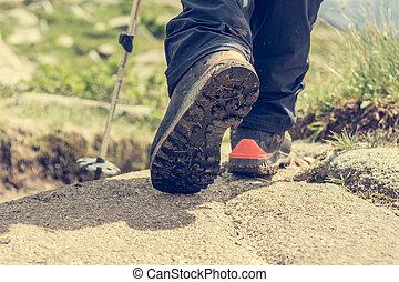 Closeup of trekking boots.