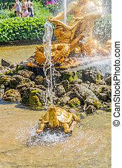 Closeup of Triton fountain in Peterhof