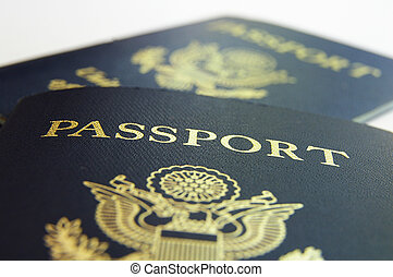 Closeup of two American passports, front view
