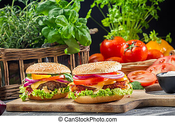 Closeup of two burgers made from fresh vegetables