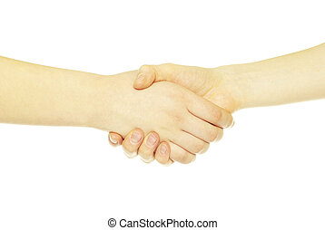 shaking hands - closeup of two men shaking hands isolated...