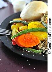 Closeup of vegetarian set meal