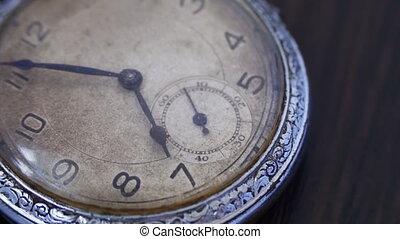 Closeup of vintage clock - Antique clock dial close-up....