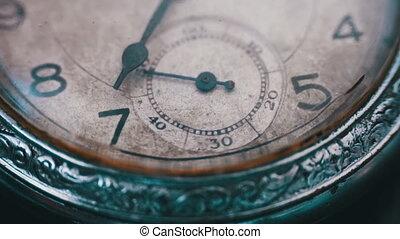 Closeup of vintage clock mechanism working - Antique clock...