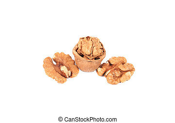 Closeup of walnut kernels. Isolated on a white background.