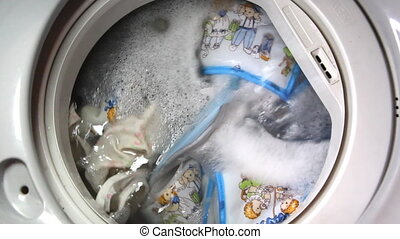 closeup of washing machine