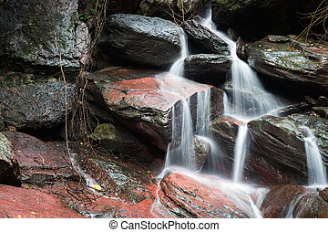 Closeup of waterfall in forest