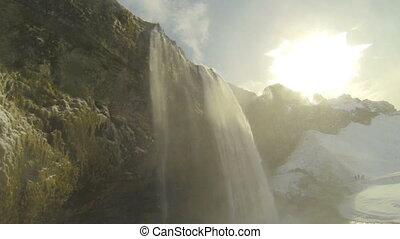 Closeup of waterfall Seljalandsfoss