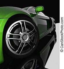 Closeup of wheels of machine on black background