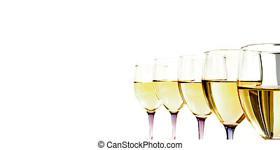 Closeup of white wine glasses and cork in a line, on white