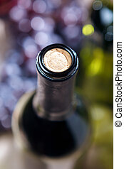 Closeup of wine bottle and cork