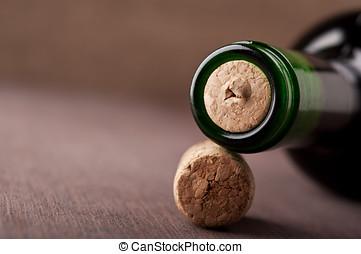 closeup of wine bottle