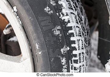 Closeup of Winter tyre