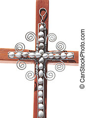 Closeup of Wire Cross Attached To Wooden Cross