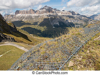 wire erosion protection in Dolomites, Italy
