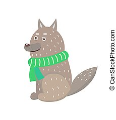 Closeup of Wolf Wearing Scarf Vector Illustration