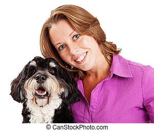 Closeup of Woman and Poodle Mix Dog
