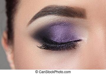 Closeup of woman eyes.
