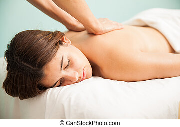 Closeup of woman getting a massage