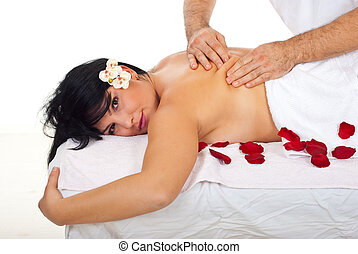 Closeup of woman getting kneading back massage