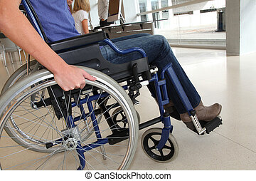 Closeup of woman in wheelchair