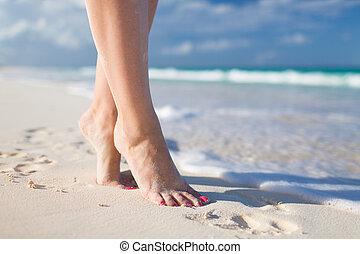closeup of woman legs on sea shore - summer, beach, leisure...