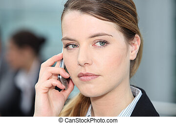 Closeup of woman on cellphone