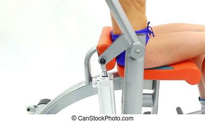 Closeup of woman on isodynamic exerciser