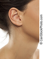 Closeup of woman's ear