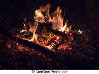 Closeup of wood burning on a bonfire