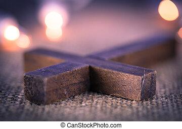 Closeup of Wooden Christian Cross - A closeup of a holy...