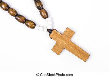 Closeup of wooden cross.
