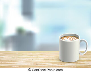 closeup of wooden desk and coffee in room - closeup look of...