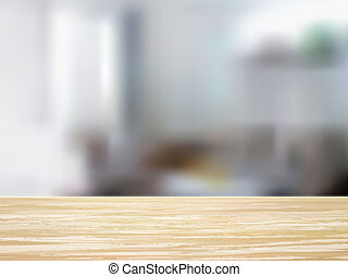 closeup of wooden desk and interior - closeup look of wooden...