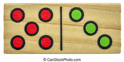 wooden domino bone with colorful dots - closeup of wooden ...