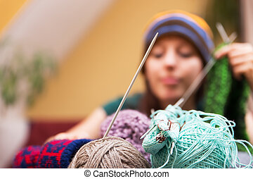 closeup of wool with a woman