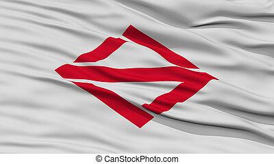 Closeup of Yokohama Flag, Capital of Japan Prefecture