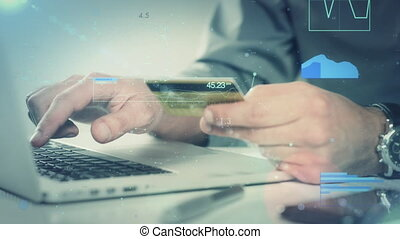 Closeup Of Young Man Making A Payment With A Credit Card