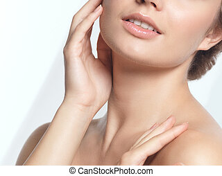 Closeup of young woman face beauty portrait