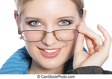 Closeup of Young Woman with Glasses