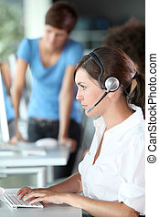 Closeup of young woman with headphones