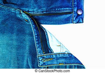 Closeup of zipper in blue denim.