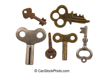 Closeup on a set of old keys, isolated on white background. Cut out.