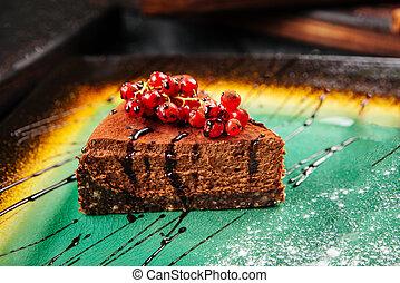 Closeup on a slice of chocolate cake