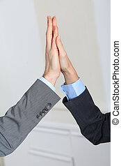 Closeup on business people hands