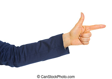 Closeup on business woman pointing with finger gun