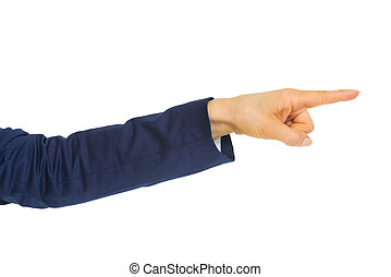 Closeup on business woman pointing with finger