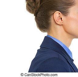 Closeup on ear of business woman
