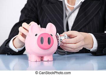 Closeup on examining piggy bank.