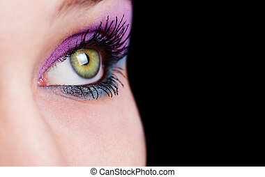 Closeup on eye with beautiful makeup - Closeup on female eye...